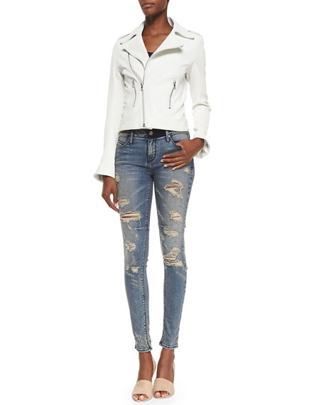 Distressed Skinny Ankle Jeans, Destroyed Soil