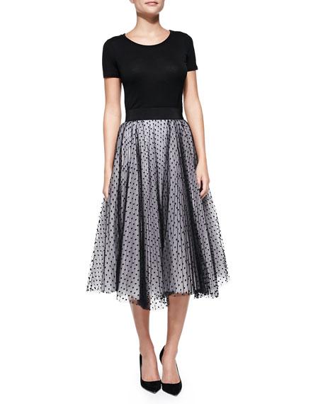 Pleated Dot Tulle Skirt
