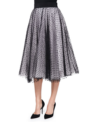 Milly Pleated Dot Tulle Skirt