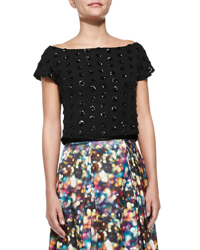 Milly Sophia Sequined Dot Crop Top