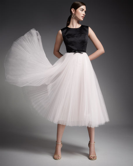 Sleeveless Bustier Cocktail Dress W/ Tulle Skirt
