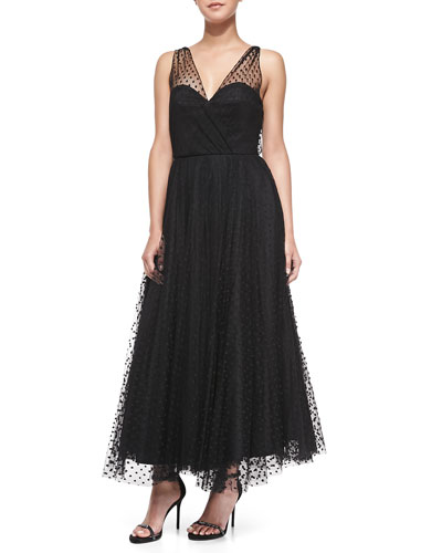 Milly Sleeveless Dotted Tulle Overlay Gown