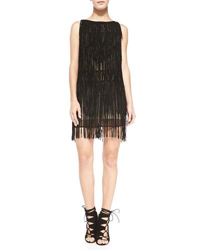 Haute Hippie Layered Fringe Suede Dress