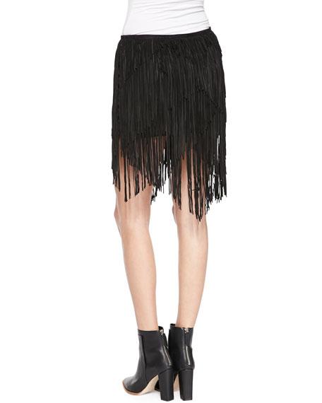 Suede Asymmetric Fringe Skirt