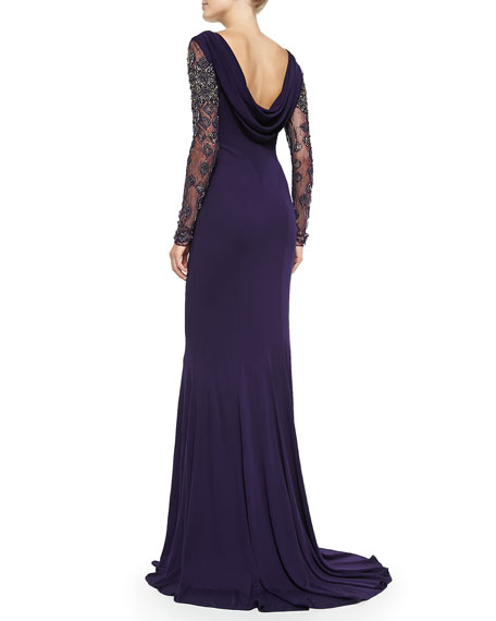 Beaded Long-Sleeve Gown w/ Cowl Back