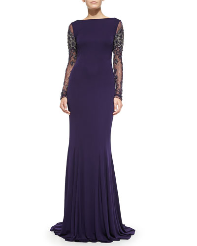 Badgley Mischka Collection Beaded Long-Sleeve Gown w/ Cowl Back