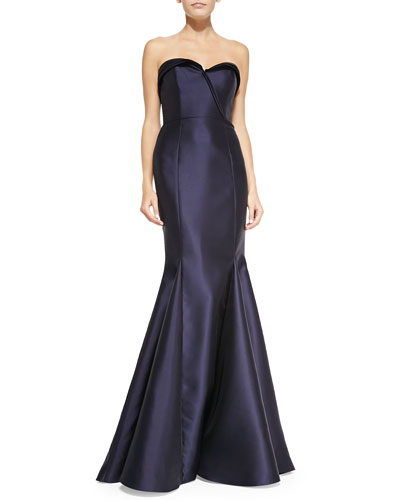 Badgley Mischka Collection Strapless Ball Gown, Navy
