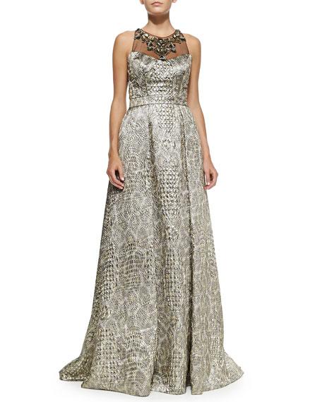 Sleeveless Beaded-Neck Ball Gown