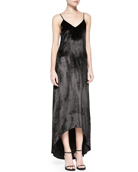 Long Trapeze Satin Tank Dress