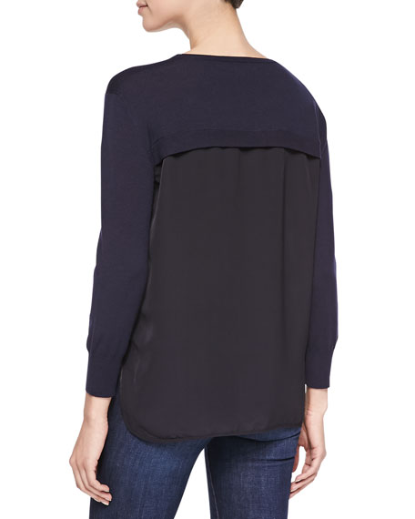 Selita Crewneck Sweater with Contrast Back