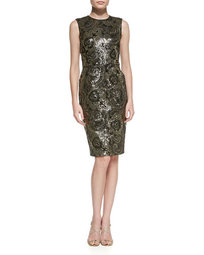 Kalinka Sequined Mosaic Cocktail Sheath Dress
