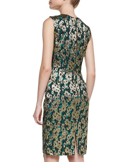Sleeveless Brocade Sheath Dress