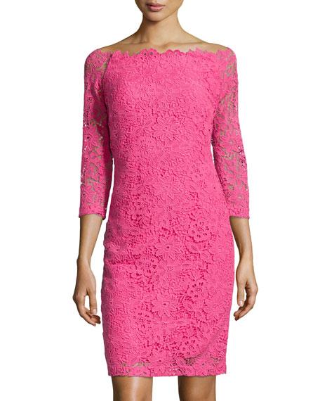 3/4-Sleeve Lace Sheath Dress