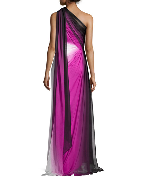 One-Shoulder Ombre Chiffon Gown, Raspberry