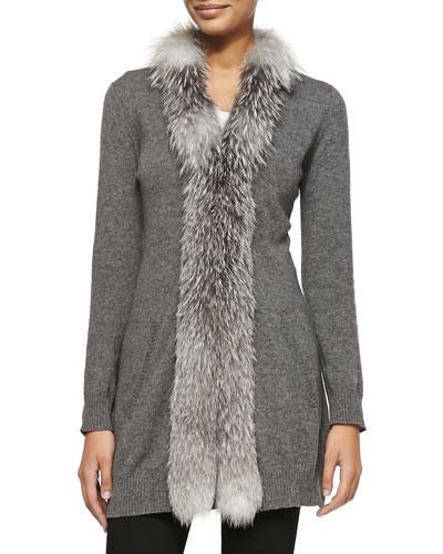 Neiman Marcus Cashmere Long Fur-Trimmed Cardigan, Gray