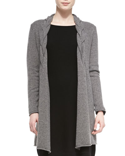 Neiman Marcus Long Braided Cashmere Cardigan