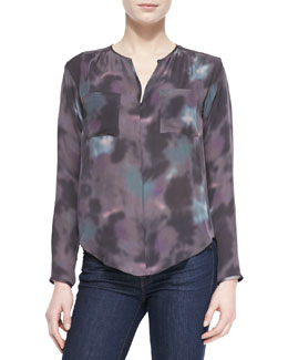 Rebecca Taylor Floral Haze Watercolor-Print Silk Blouse