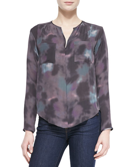 Floral Haze Watercolor-Print Silk Blouse