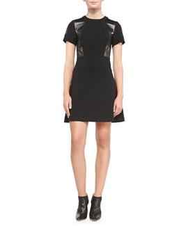 Rebecca Taylor Leather-Panel Ponte A-Line Dress