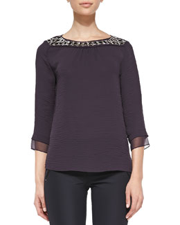 Rebecca Taylor Bead-Neck Cotton Top, Wildberry