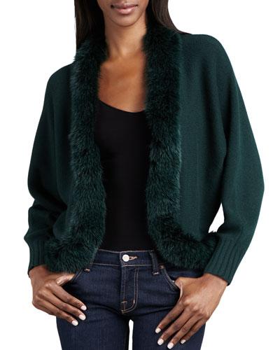 Neiman Marcus Fur-Trim Cashmere Cardigan