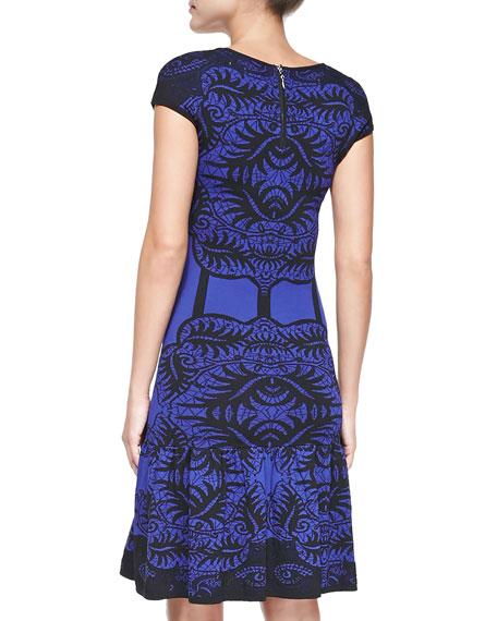 Cap-Sleeve Baroque & Corset-Print Dress
