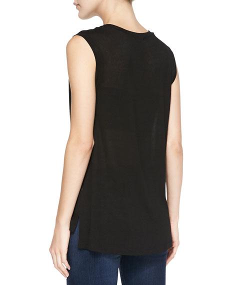 Lux Sleeveless Drapey Top, Black