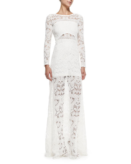 Marisol Long-Sleeve Lace Overlay Gown