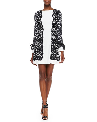 Alexis Varna Lace-Overlay Crepe Dress