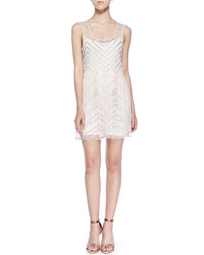 Free People Chevron-Sequined Chiffon Mini Dress, Ivory