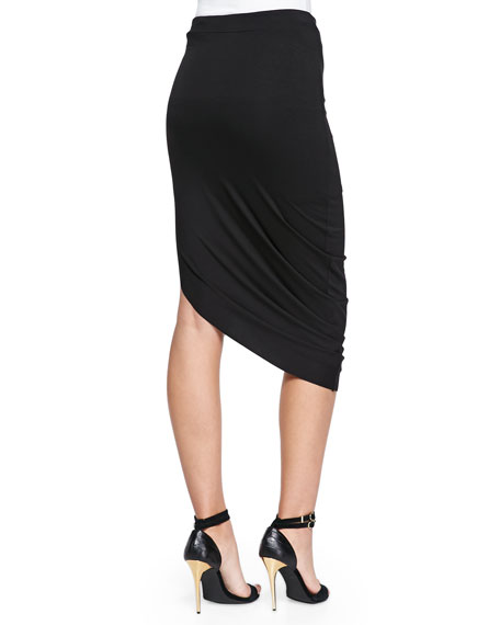 Asymmetric Jersey Midi Skirt, Black