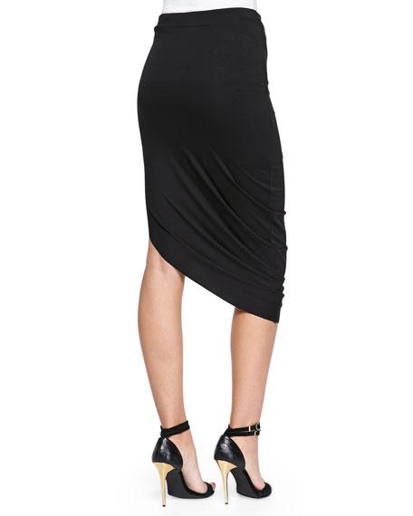 Asymmetric Jersey Midi Skirt, Black