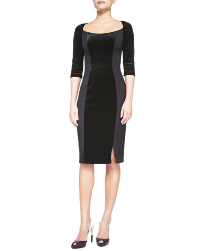 Black Halo Jackie 3/4-Sleeve Velvet & Stretch Sheath Dress