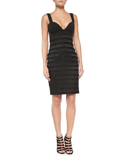 Black Halo Tacoma Tonal-Stripe Sheath Dress