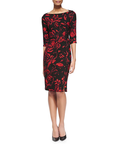 Black Halo Marissa Floral-Print Crepe Sheath Dress