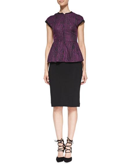 Ottoman Ribbed Knit Pencil Skirt