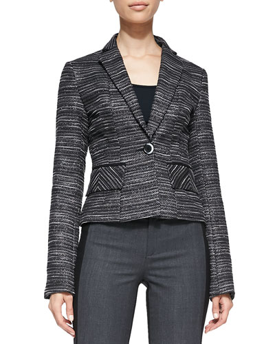 Nanette Lepore Striped Tweed Fitted Blazer