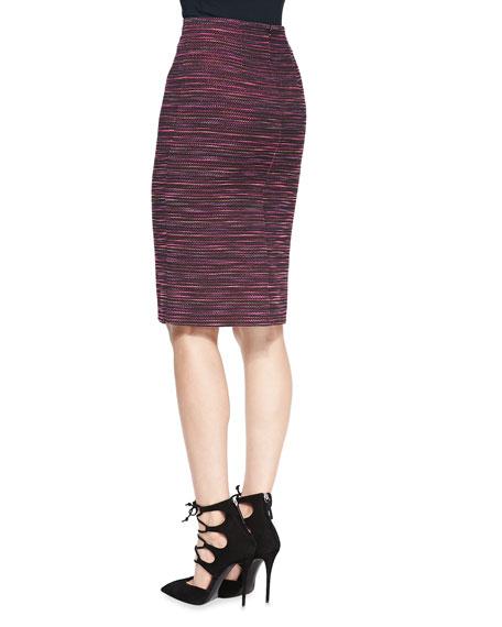 Striped Tweed Long Pencil Skirt