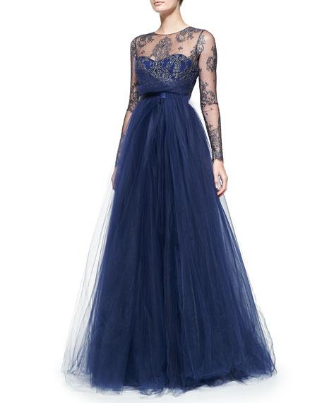 Long-Sleeve Illusion Full-Skirt Gown