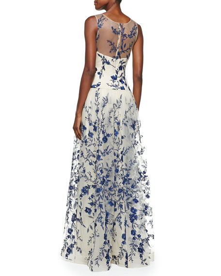 Sleeveless Embroidered Overlay Gown