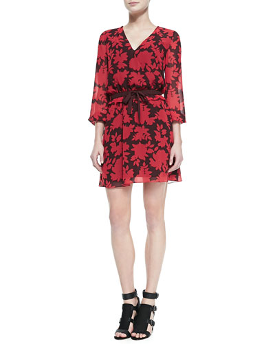 Rebecca Minkoff Renzi Floral-Print Tie-Waist Dress