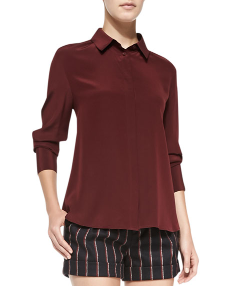 Ellison Long-Sleeve Silk Blouse