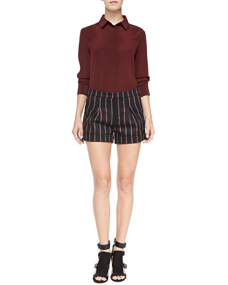 Harrison Striped Wool-Blend Shorts