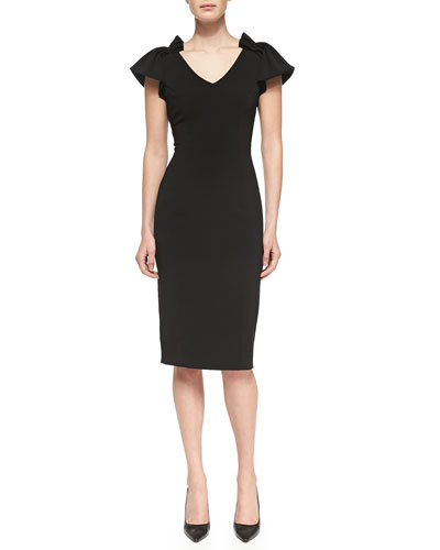 Badgley Mischka Collection V-Neck Sheath Dress W/ Pleated Shoulders