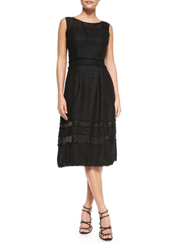 Badgley Mischka Collection Tweed Fit & Flare Knee-Length Dress