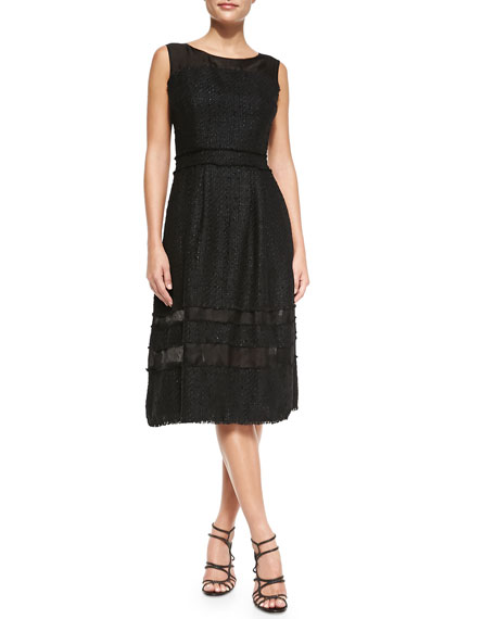 Badgley Mischka Tweed Fit & Flare Knee-Length Dress