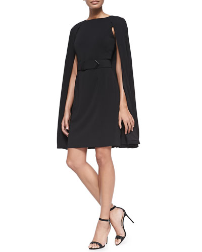 Badgley Mischka Collection Belted Sheath Dress W/ Cape Sleeves