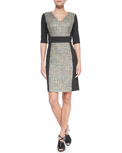 Trina Turk Felicia V-Neck Tweed Panel Dress