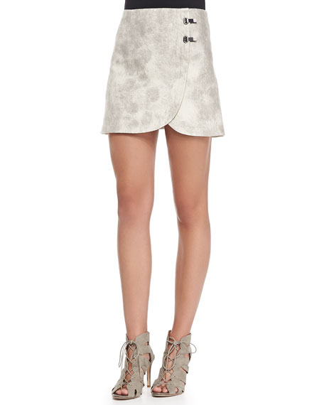 Double-Clasp Pony Textured Miniskirt