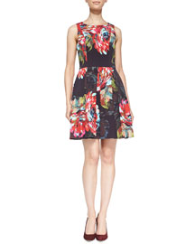 Trina Turk Hanna Sleeveless Floral A-Line Dress